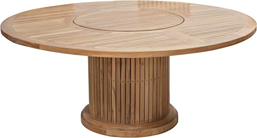 Premium Madera mesa redonda de madera de teca/diámetro: 160 cm/para interiores y exteriores/Plato Giratorio en el centro/Jardín Mesa? Comedor: Amazon.es: Hogar