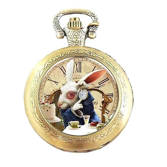 Reloj de bolsillo con mecanismo de cuarzo y cadena, diseño de Alicia en el País