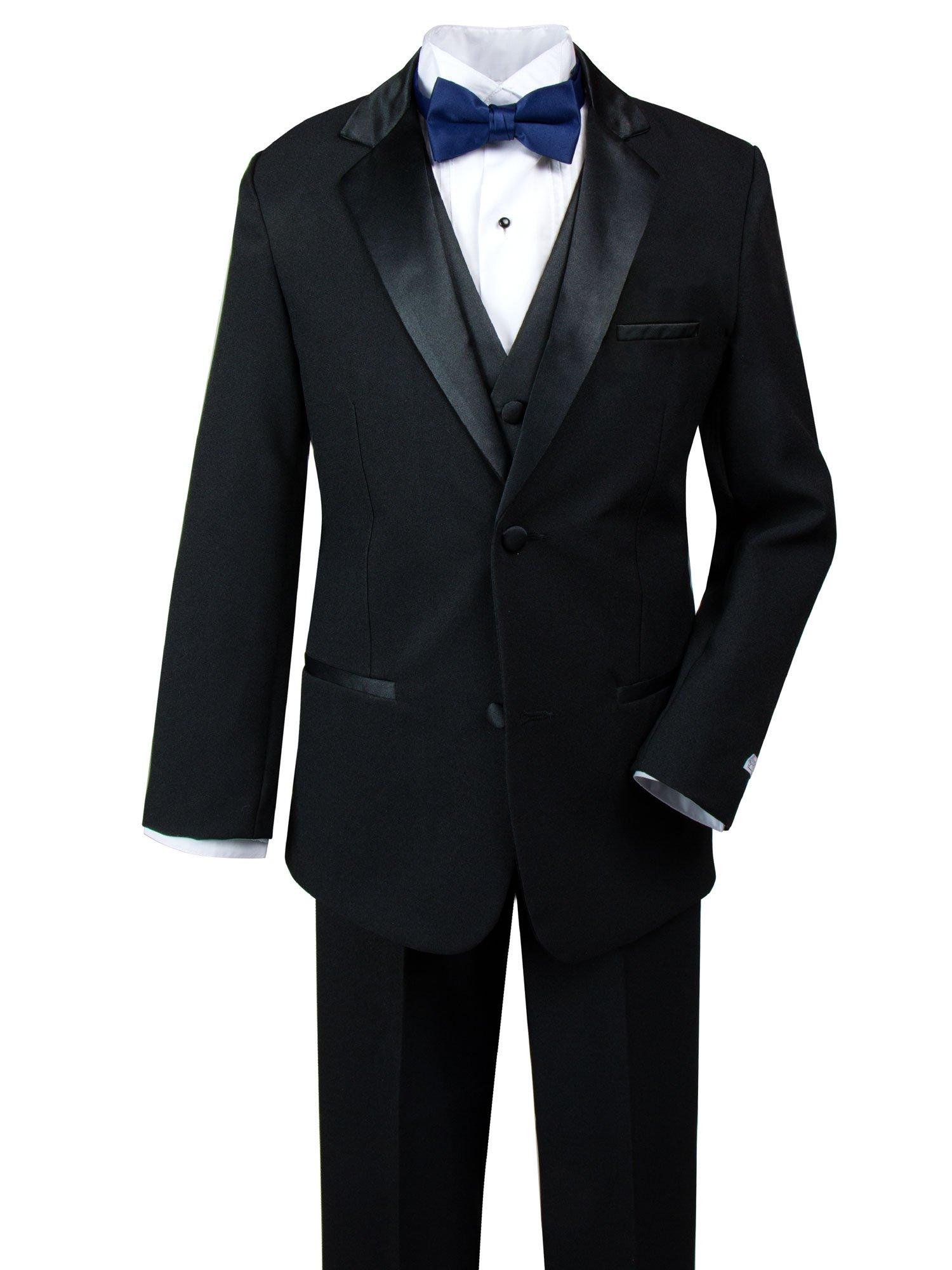Spring Notion Big Boys' Modern Fit Tuxedo Set, No Tail 12 Black-Navy