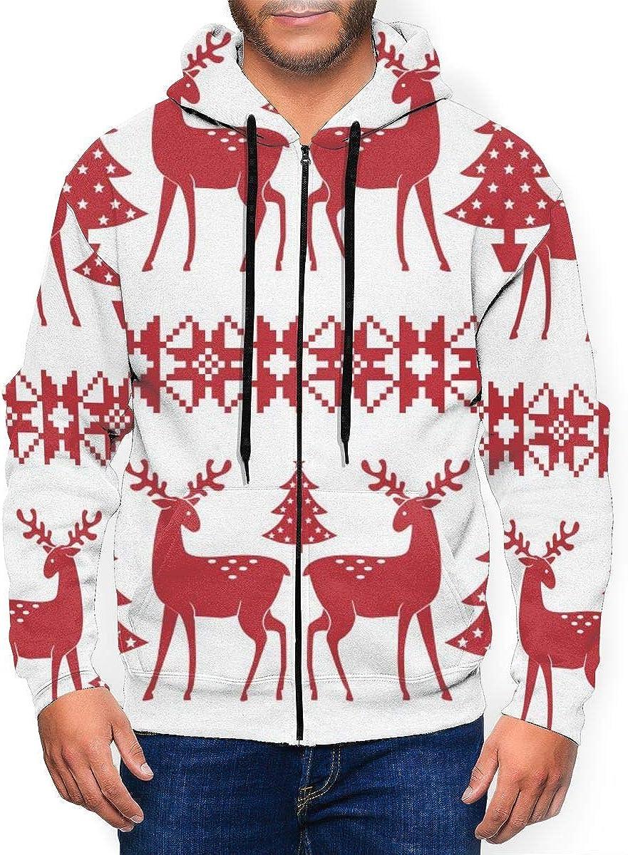 KAMQUERENCE Mens Zipper Hoodies Sweatshirt Long Sleeve Coat with Pockets Christmas Nordic Seamless