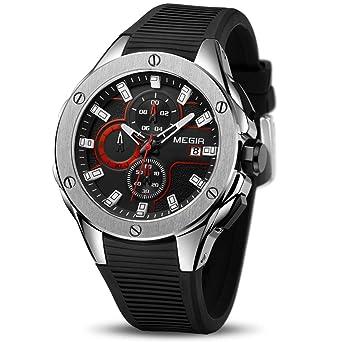 MEGIR Mens Analogue Military Chronograph Luminous Quartz Watch with Silicone Band Calendar Fashion Gift for Sport