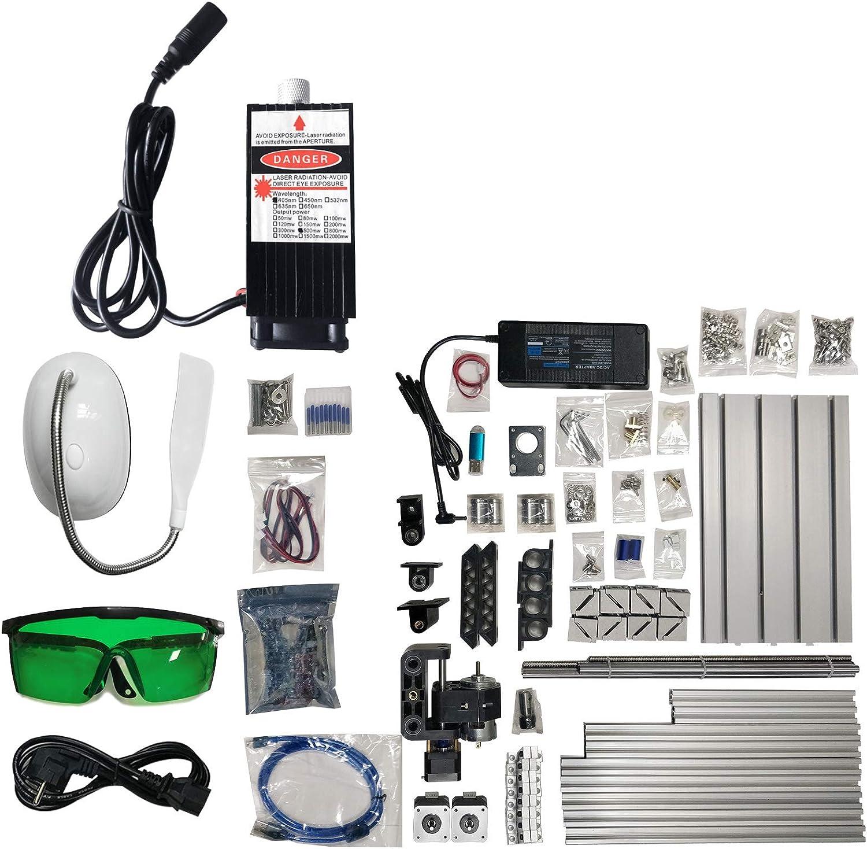 Kit de Enrutador de 3 Ejes con Velocidad de 10.000 rpm//min 500 mW VEVOR M/áquina de Grabado CNC 2418 DIY M/áquina Grabador L/áser Fresadora para Madera PVB PCB con Tablero de Control GRBL 3 Motores