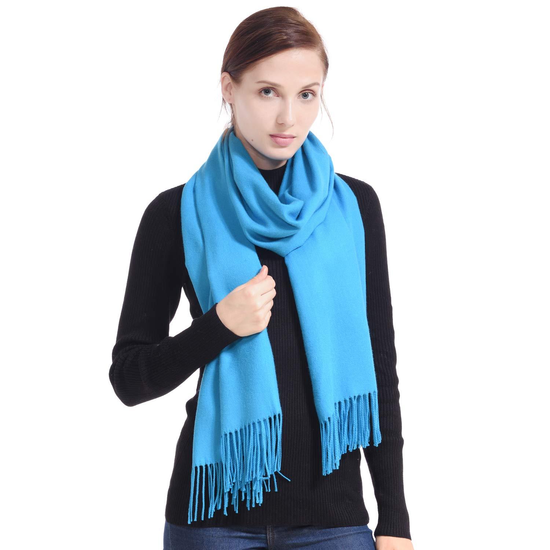 bluee LERDU Ladies Cashmere Pashmina Scarf Wool Wrap Shawl Winter Stole for Women Grey