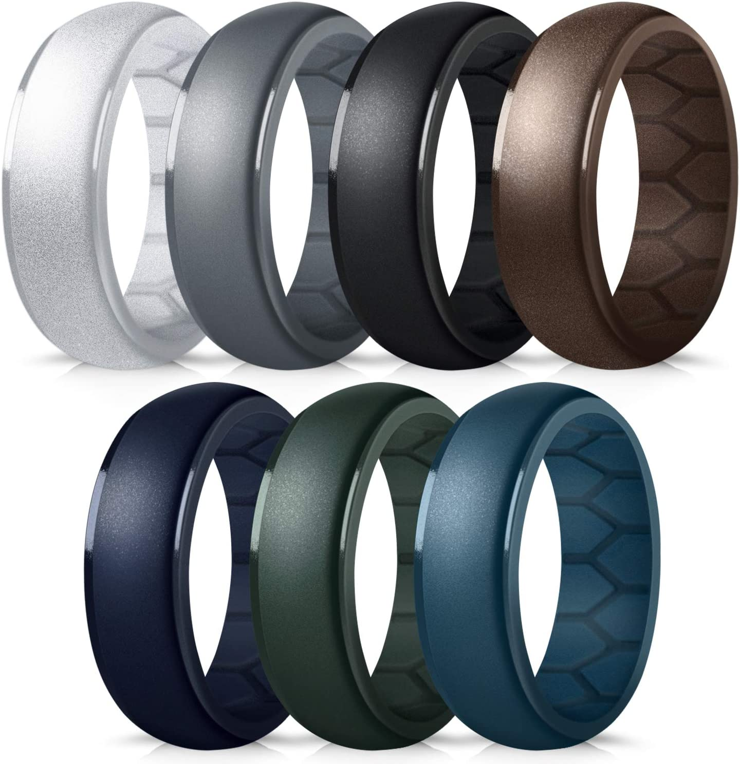 Mens Rubber Wedding Engagement Bands for Crossfit Workout Breathable Airflow Inner Curve Forthee Silicone Wedding Ring for Men