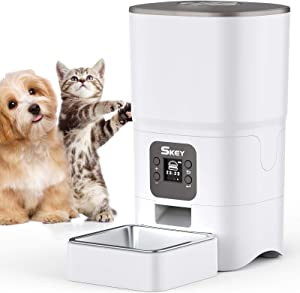SKEY Automatic Cat Feeder- 6L Auto Cat Food Dispenser with Clog-Free Design, Low Food LED Indication& Dual Power Supply- Portion Control 1-4 MealsTimed Cat Feeder for Cats & Dogs