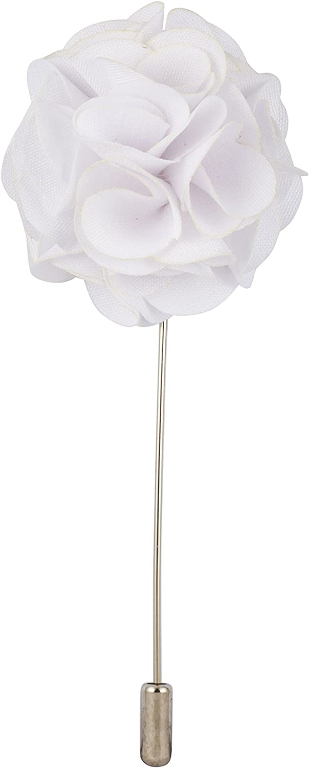 Knighthood Men's White Bunch Flower Lapel Pin/Brooch White Boutonniere Pin with Gift Box for Suit Wedding Groom