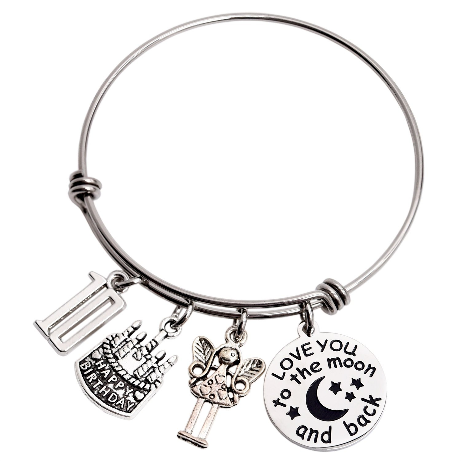 10th Birthday Gifts For Girls Gifts for Her Stainless Steel Expandable Bangle LParkin