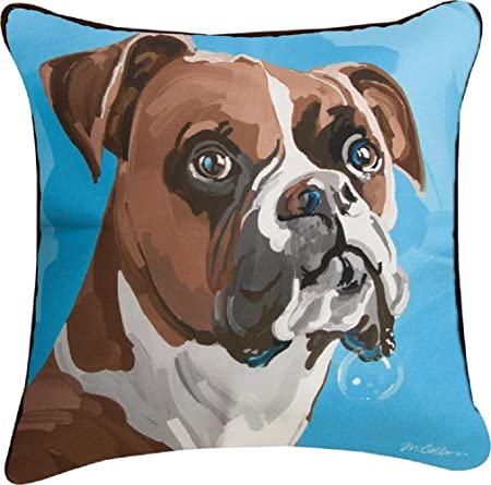 Manual Woodworkers Boxer Dog Champ Blue 18 x 18 Inch Polyester Decorative Throw Pillow