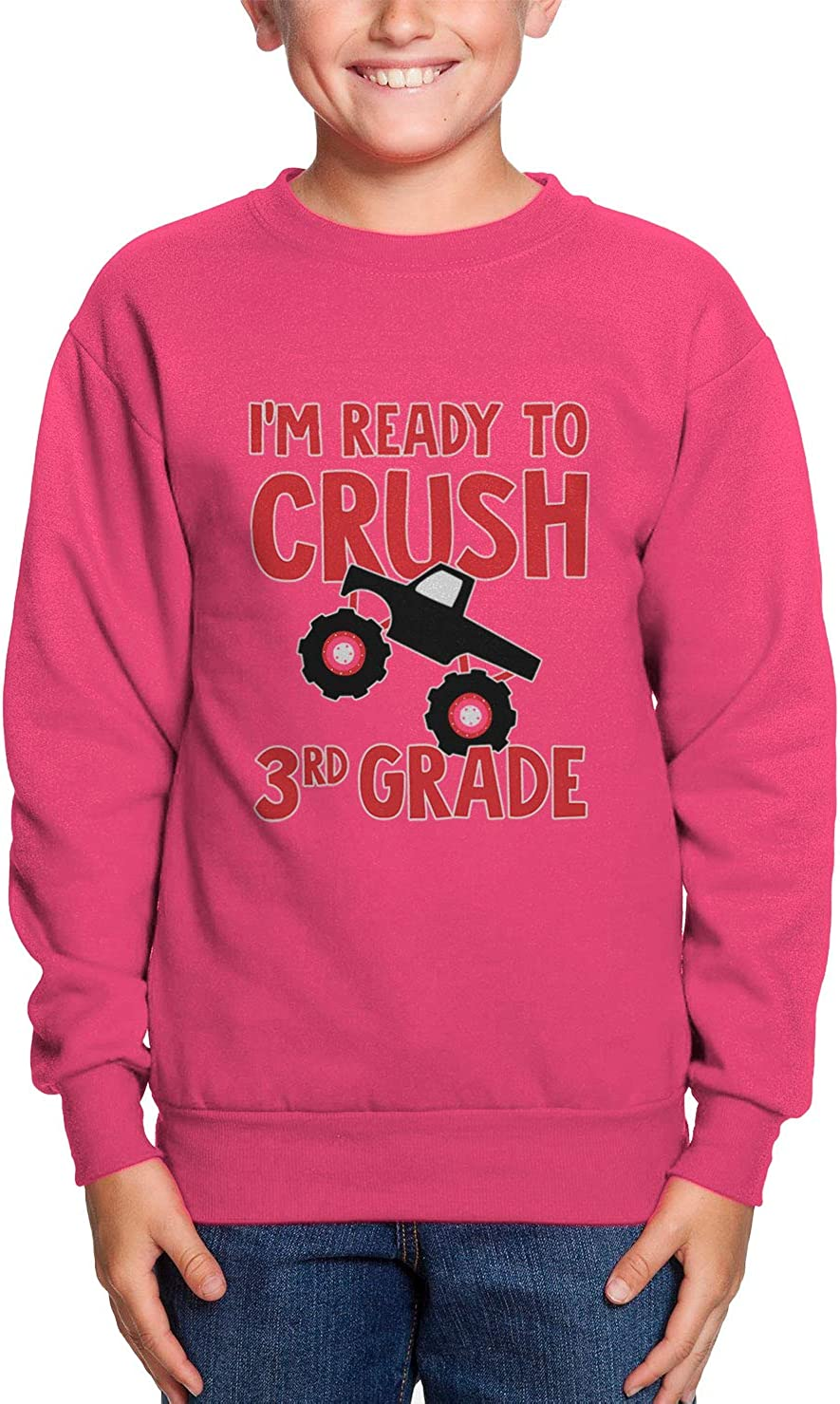 Back to School Youth Fleece Crewneck Sweater Im Ready to Crush 3rd Grade Pink, X-Large