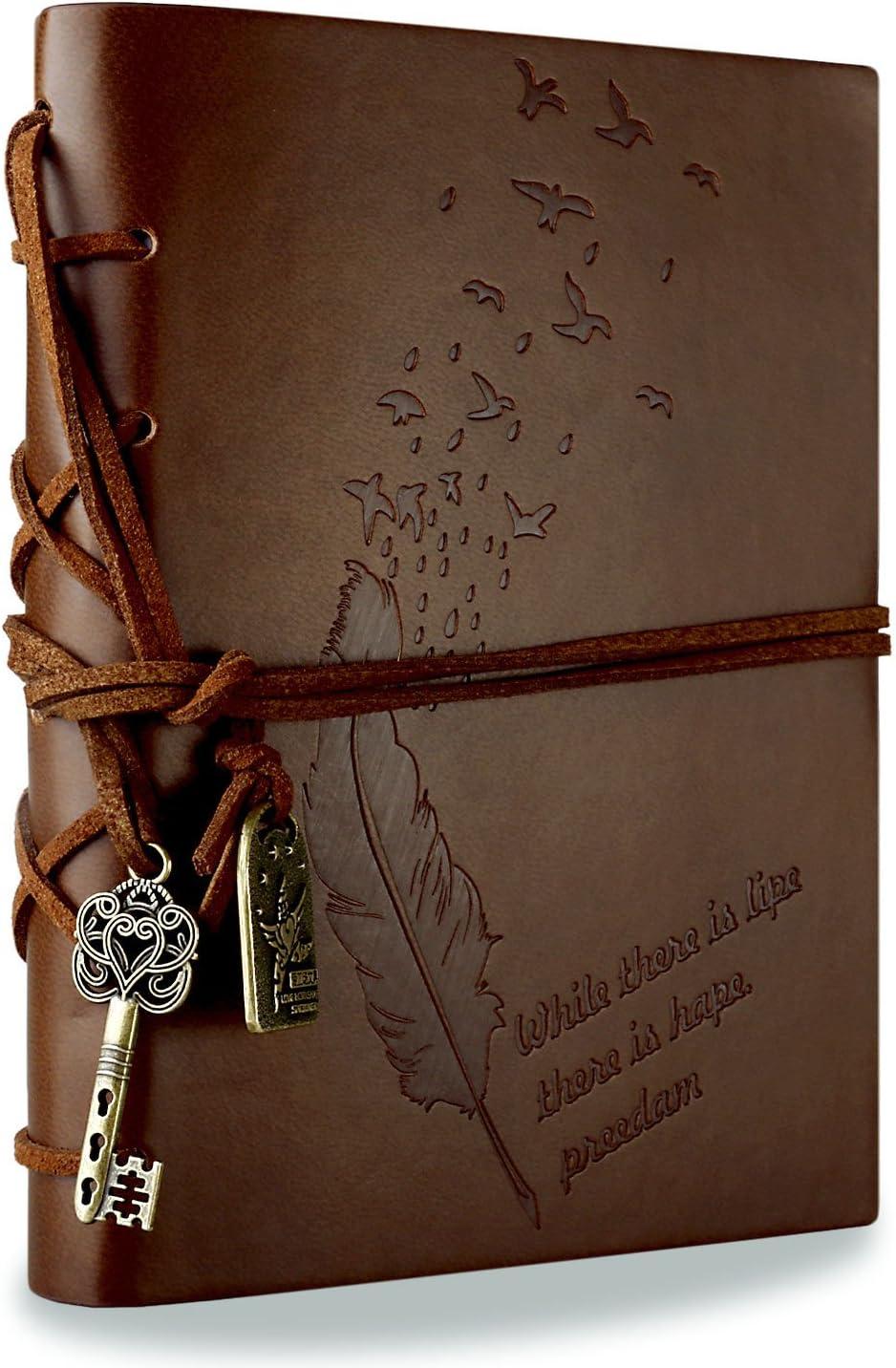 Foonii Cubierta de cuero de la vendimia retro Notebook llave mágica Cadena 160 en blanco Jotter Diary (Brown)