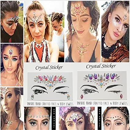 b439e4ecf Vinmax Temporary Face Tattoos Eye Tattoo Face Jewel Stickers,4 Pack Festival  Mermaid Rhinestones Rave