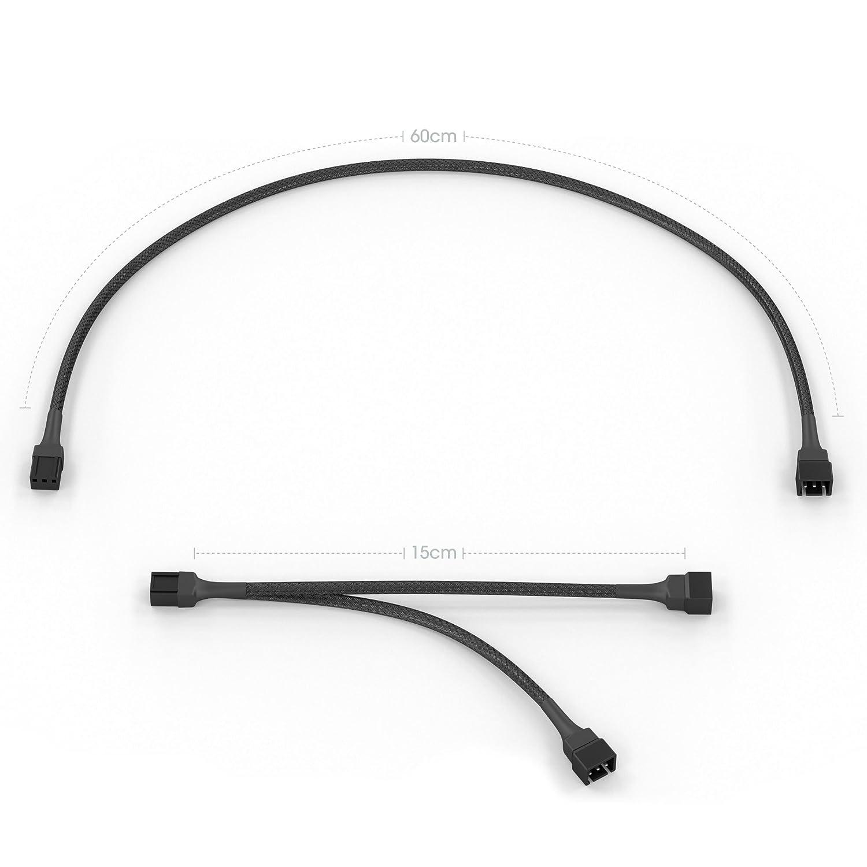 KabelDirekt 3-Pin L/üfter Verl/ängerungskabel 60cm 3-Pin L/üfter auf 2 x 3-Pin L/üfter Y-Kabel 15cm