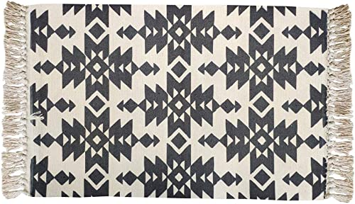 USTIDE Black White Braid Hand Woven Rug Cotton Printed Tassels Rug 23.6 x51