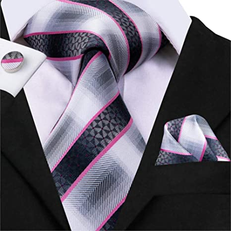 FDHFC Corbata A Rayas De Diseño En Rosa Y Negro, 8,5 Cm Corbatas ...