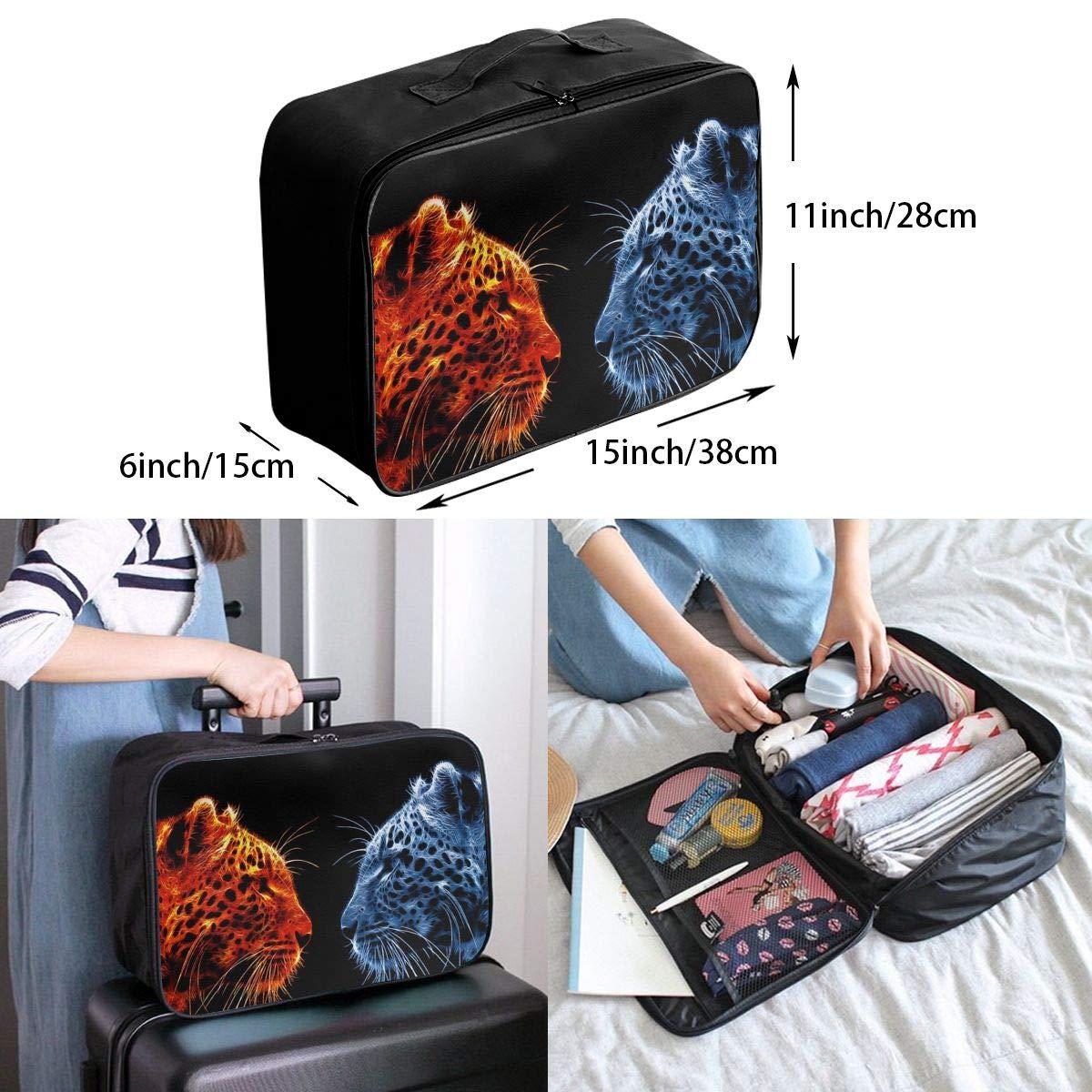 Travel Luggage Duffle Bag Lightweight Portable Handbag Blue Tiger Tiger Pattern Large Capacity Waterproof Foldable Storage Tote