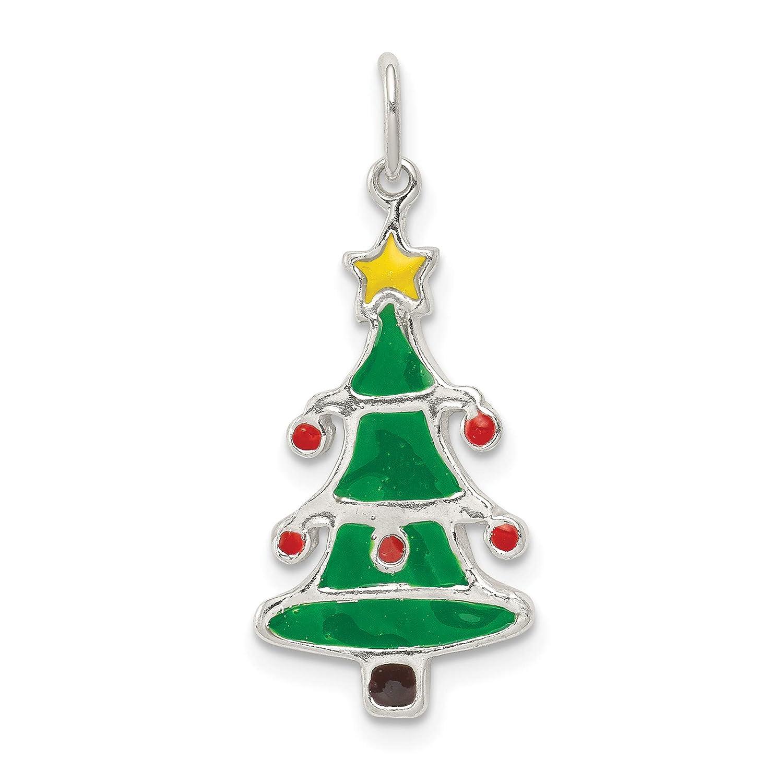 Mireval Sterling Silver Polished Enamel Christmas Tree Pendant