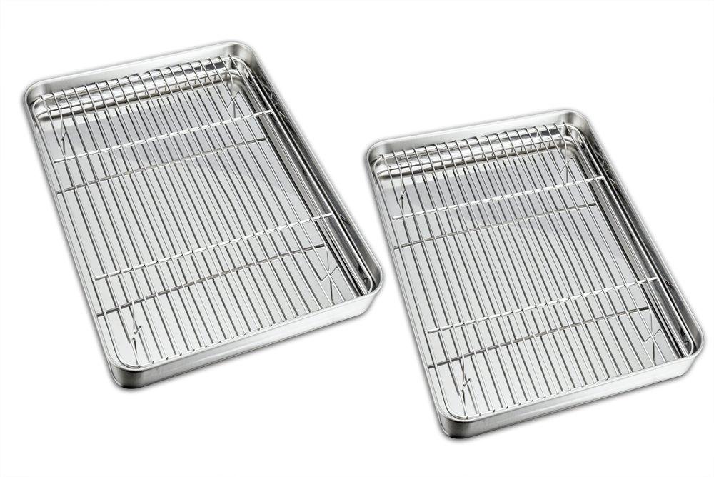 TeamFar Baking Sheet with Rack Set, Stainless Steel Baking Pan Cookie Sheet with Cooling Rack, Non Toxic & Healthy, Easy Clean & Dishwasher Safe - 4 Pack (2 Pans + 2 Racks)