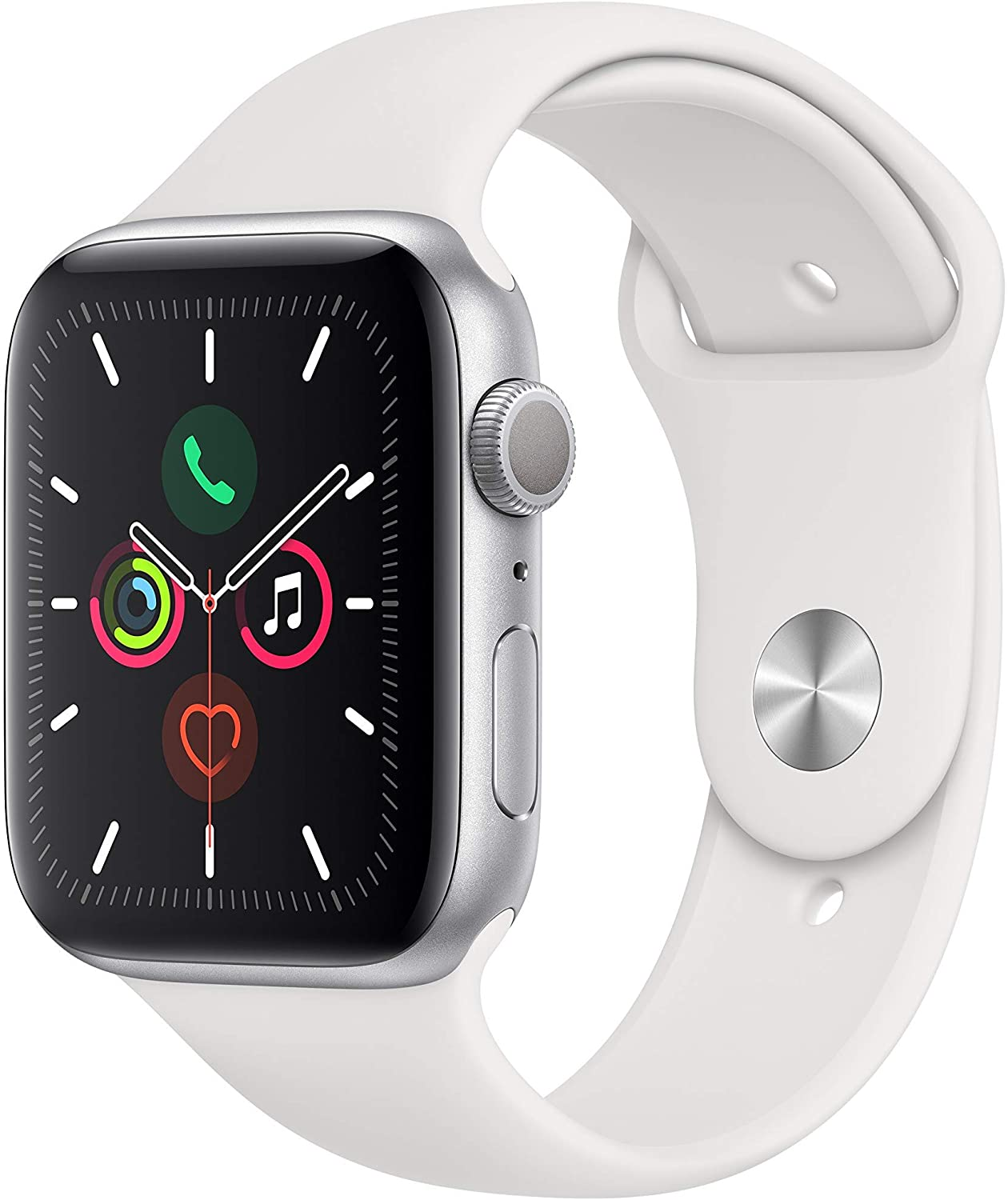 Apple Watch Series 5 (GPS, 40MM) - Silver Aluminum Case with White Sport Band (Renewed)