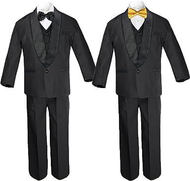 6pc Baby Boy Black Formal Satin Shawl Lapel Suits Tuxedo extra Yellow Bow Tie