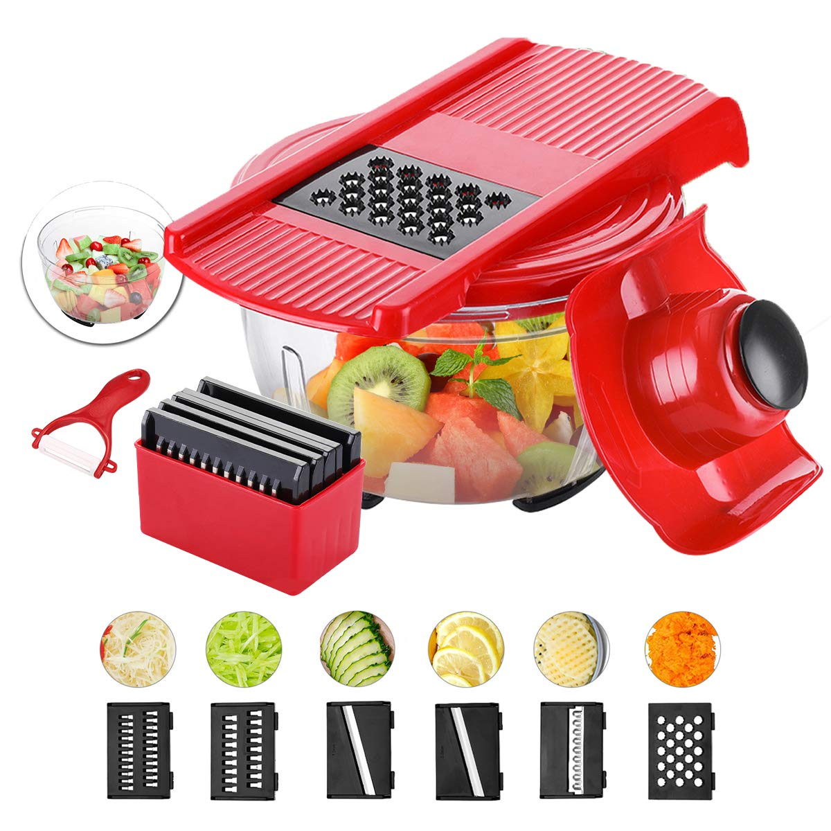 Godmorn Mandolin Slicer, Large Capacity Vegetable Slicer, Multi-function Food Cutter, Fruit Cutter and Grater with 6 Interchangeable Stainless Steel Blades + Food Catching Container( Round Design ) + Peeler Godmorn UK