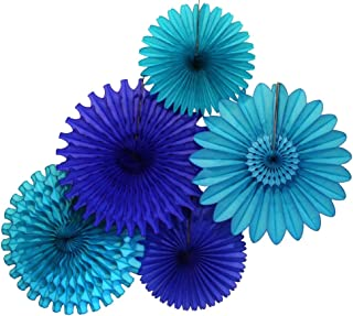 product image for Devra Party 5-Piece Honeycomb Tissue Fans, Blue Skies