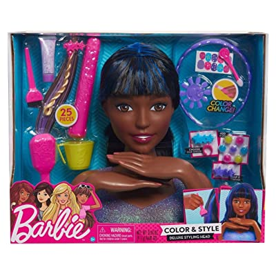 Barbie Color and Style Deluxe Styling Head Black and Blue Hair: Toys & Games