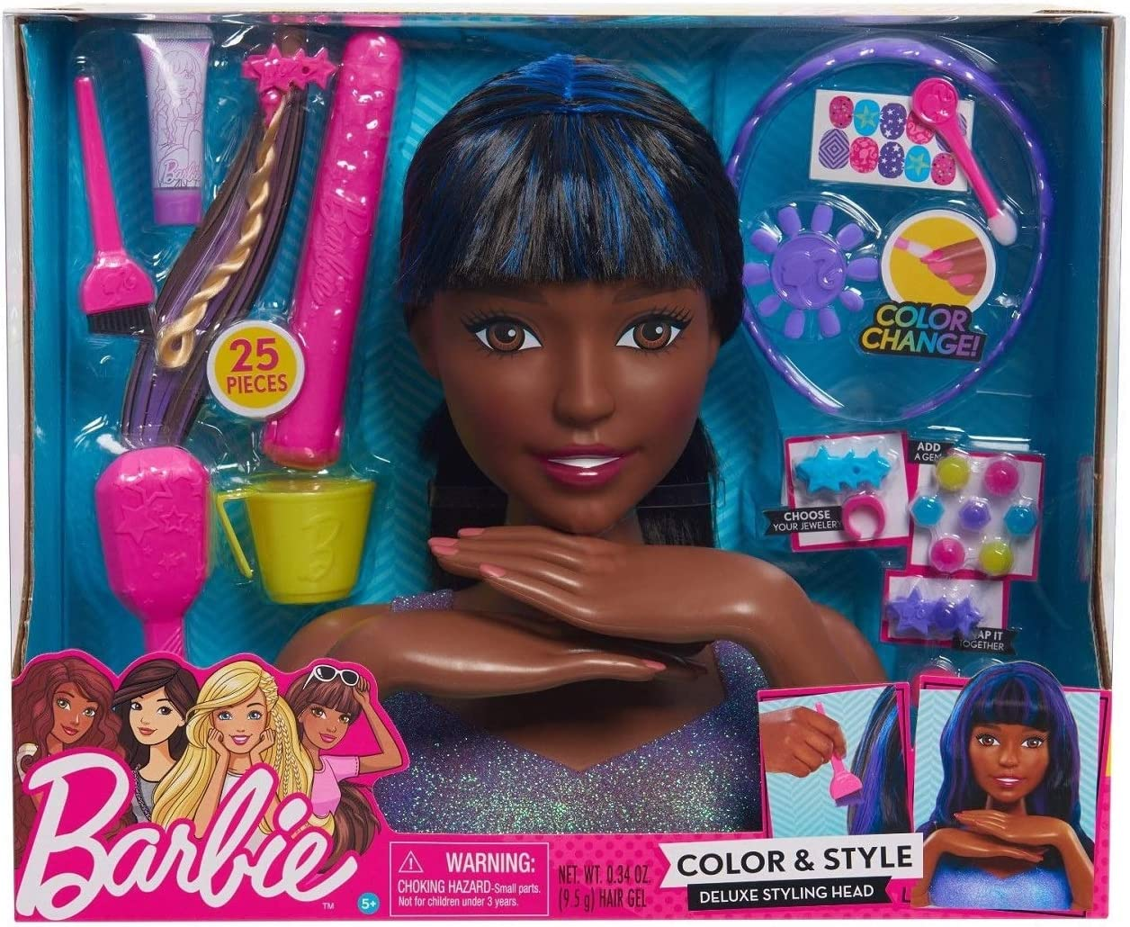 Amazon Com Barbie Color And Style Deluxe Styling Head Black And Blue Hair Electronics