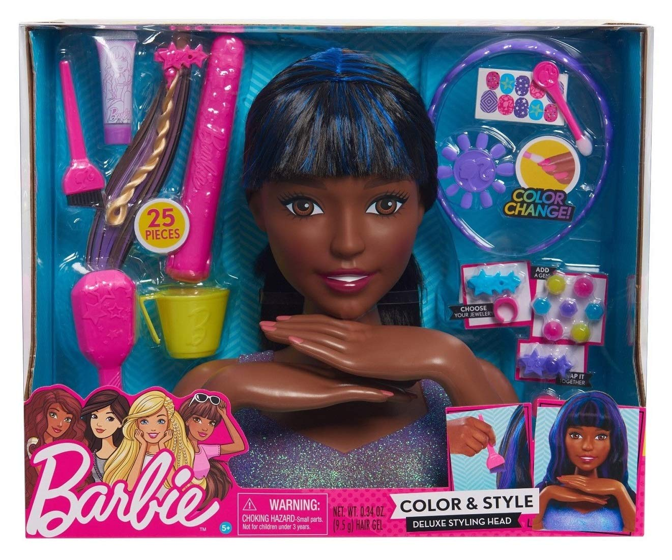 Barbie Color and Style Deluxe Styling Head Black and Blue Hair