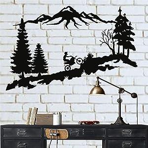 "Metal Wall Decor, Mountain Trees Motocross, Metal Motorcycle Art, Metal Wall Decor, Home Decoration Living Room Decor, Motocross Lover Gift (18""W x 11""H / 45x29cm)"