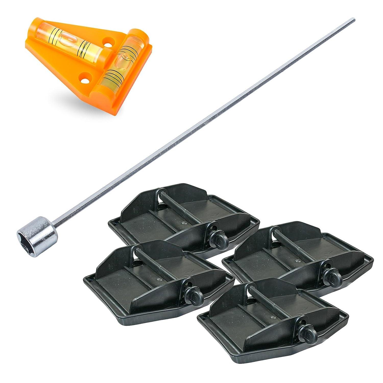 Hypercamp Maxi Foot Stü tzplatten Set - 4 Stü ck - zur Sicherung der Kurbelstü tze inkl Akkuschrauberaufsatz und Kreuz Wasserwaage fü r Wohnmobil oder Wohnwagen Pro Plus