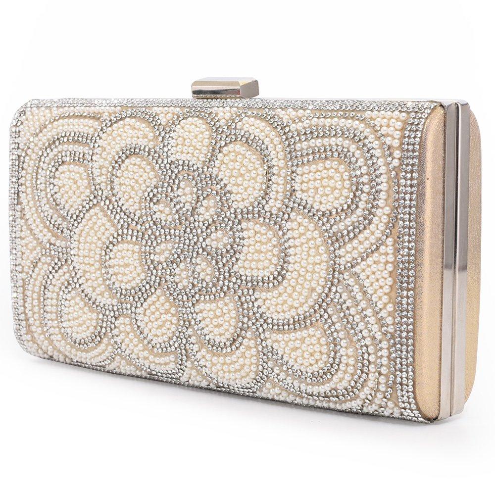 Women Clutch Evening Bag Elegant Classic Shoulder Bag Luxurious Handbag Purse (Gold AB) by LONGBLE