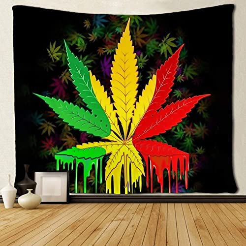 SARA NELL Tapestry Reggae Rasta Marijuana Leaf Weed Tapestries Wall Hanging Throw Tablecloth 50X60 Inches Bedroom Living Room Dorm Room 6090 inch, Marijuana Leaf Weed