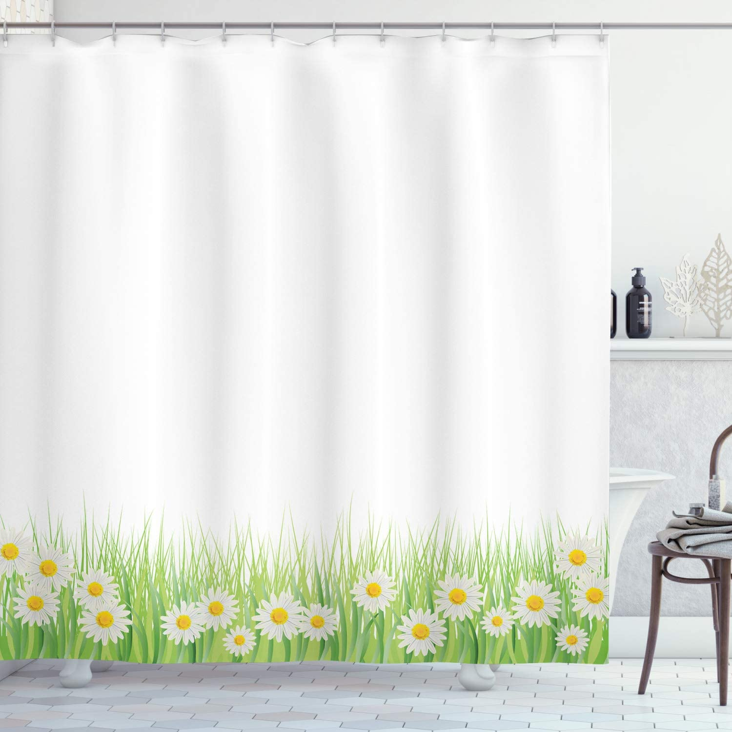 Amazon Com Ambesonne Flower Shower Curtain Daisies In The Grass