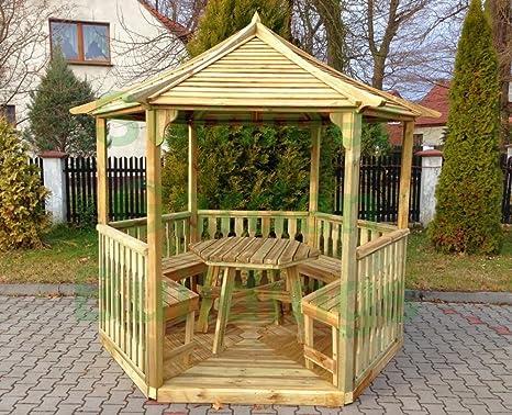 8 x 7 abierta jardín Gazebo Hexagonal de madera – Madera Tratada A ...