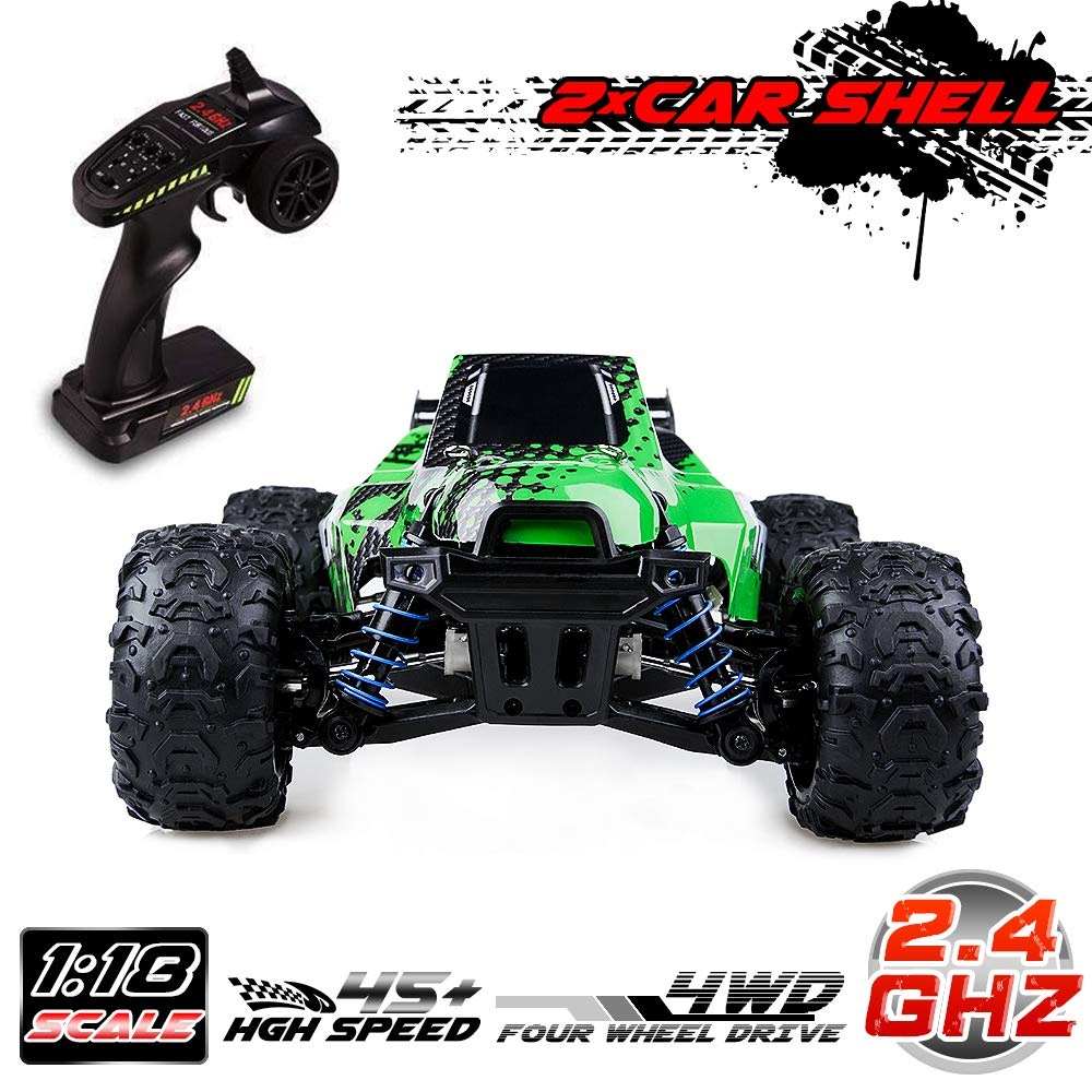 Distianert RC Truck 1/18 Scale Flexible 4WD RC Car for Kids & Adults, 2.4Ghz Radio Controlled Off-Road Electronic Monster Truck R/C RTR Hobby Grade 45km/H High Speed(with an Extra Shell)