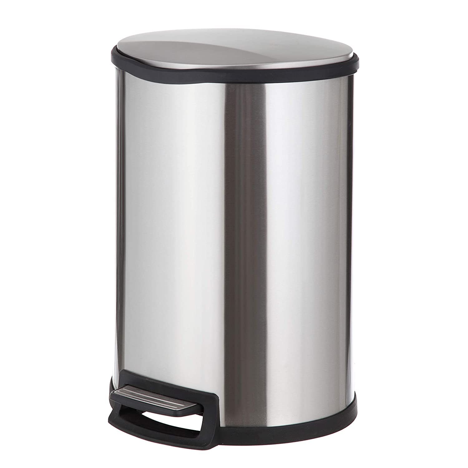 Home Zone Stainless Steel Kitchen Trash Can with Semi-Round Design and Step Pedal | 45 Liter / 12 Gallon Storage with Removable Plastic Trash Bin Liner, Silver