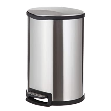 Home Zone Stainless Steel Kitchen Trash Can with Semi-Round Design and Step Pedal | 45 Liter / 12 Gallon Storage with Removable Plastic Trash Bin and Rubber Liner, Silver