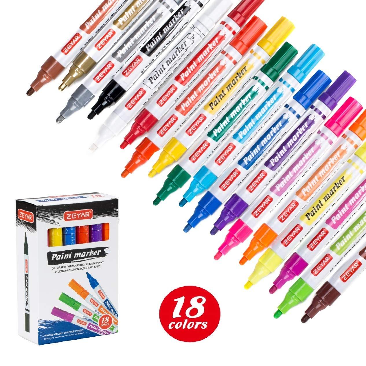 ZEYAR Paint Pens, 18 Colors, Medium Point, Permanent & Waterproof ink, Expert of Rock Painting, Oil-Based, Great on Mug, Rock, Glass, Canvas, Metal ...