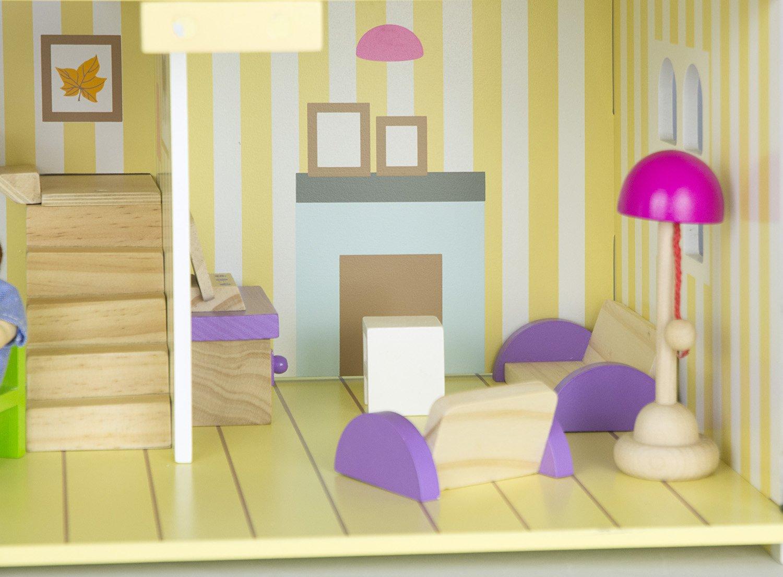 Villa Sue/ño Mansion Casa de Mu/ñecas de Madera Muebles Mobiliario Bella Casita Residencia de Piso Equipo Completo Excelente Calidad DIVERSI/ÓN Y EDUCACI/ÓN Regalo Para Cumplea/ño Persianas Mu/ñecas En Set Color Azul