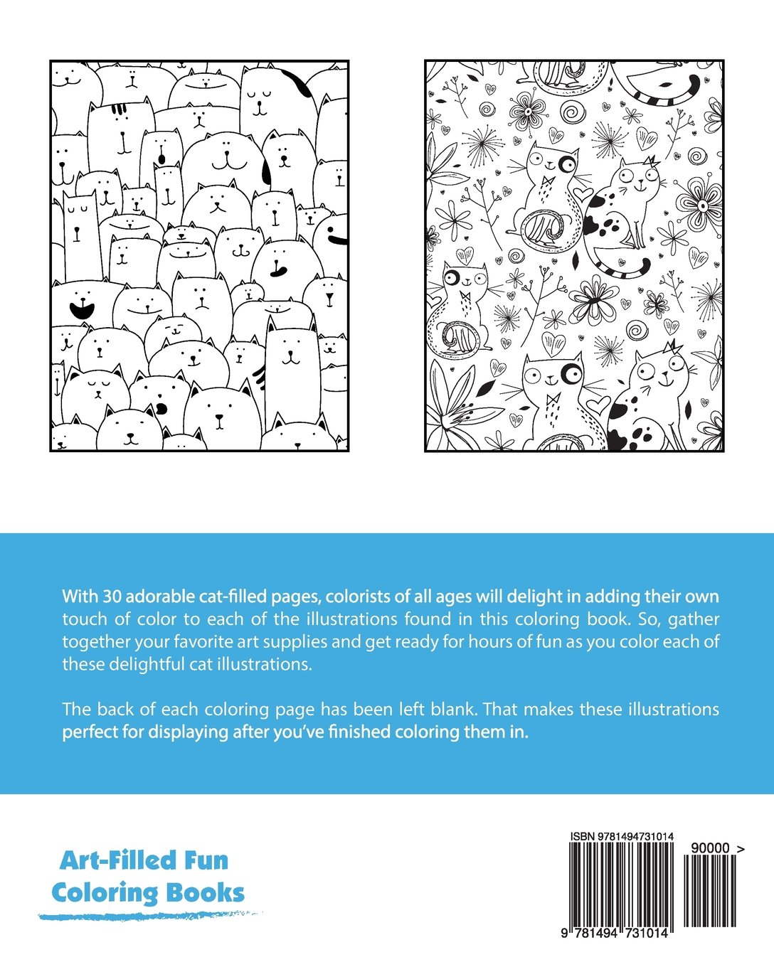 Incredibly Cute Cats Coloring Book (Art-Filled Fun Coloring Books ...