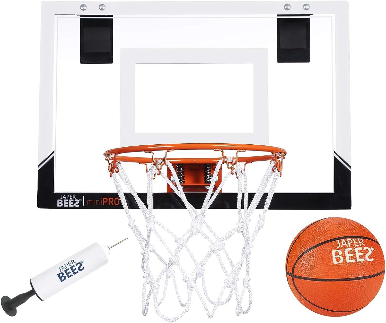 JAPER BEES Pro Mini Basketball Hoop Over The Door & Wall Mount Indoor Basketball Hoop w/Shatterproof Backboard