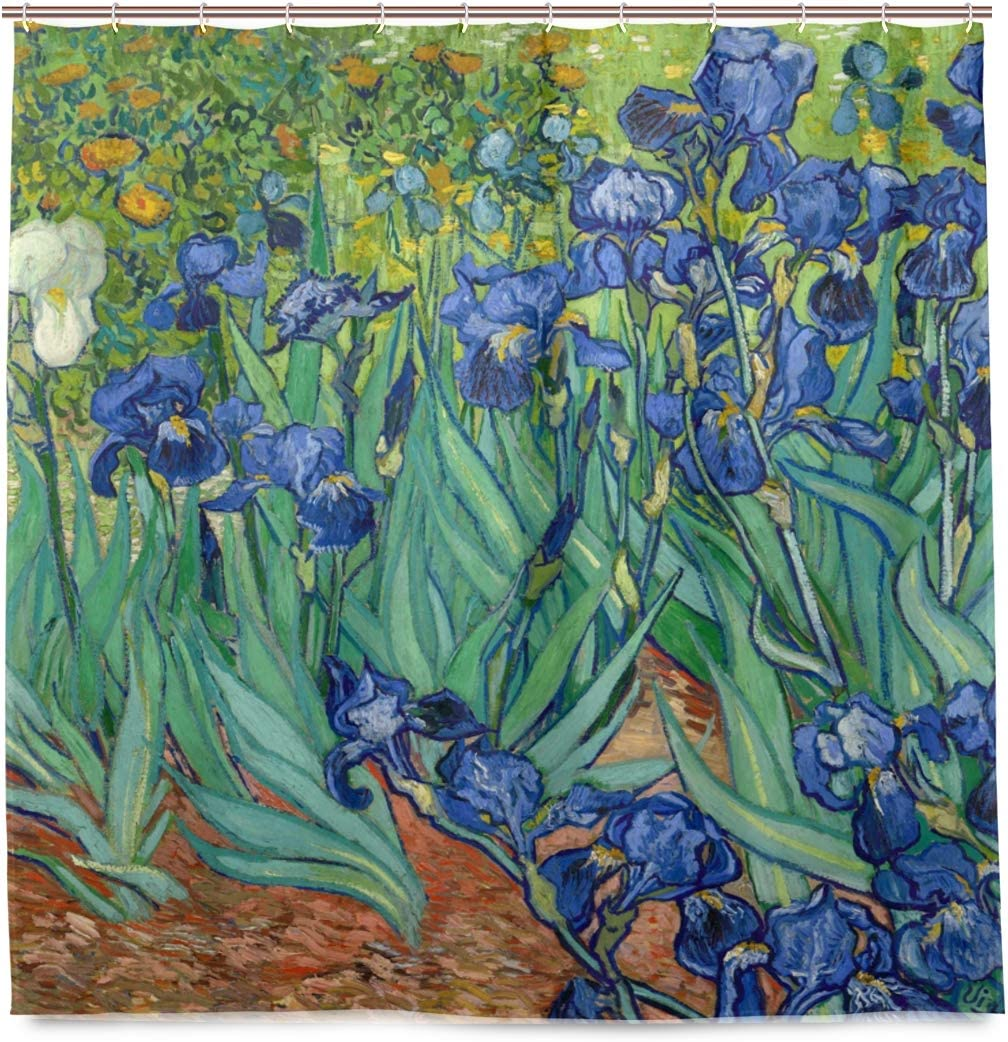 WIHVE Van Gogh Shower Curtain 72 x 72 Inches, Irises Flower Bathroom Curtains Resistant Waterproof Floral Fabric Curtain for Bath Decorations with 12 pcs Plastic Hooks