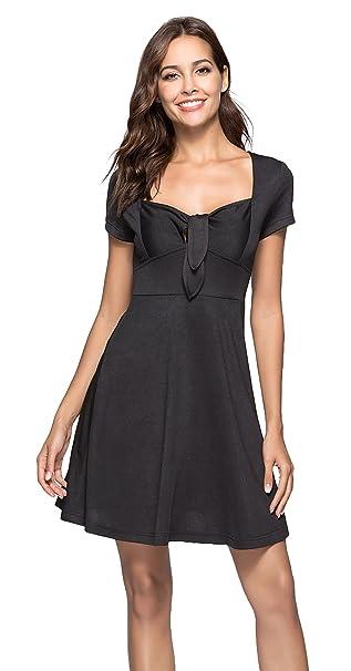 f4b6f86493 La Vogue Women A Line Dresses Tie Front V Neck Short Sleeve Midi Dress Black