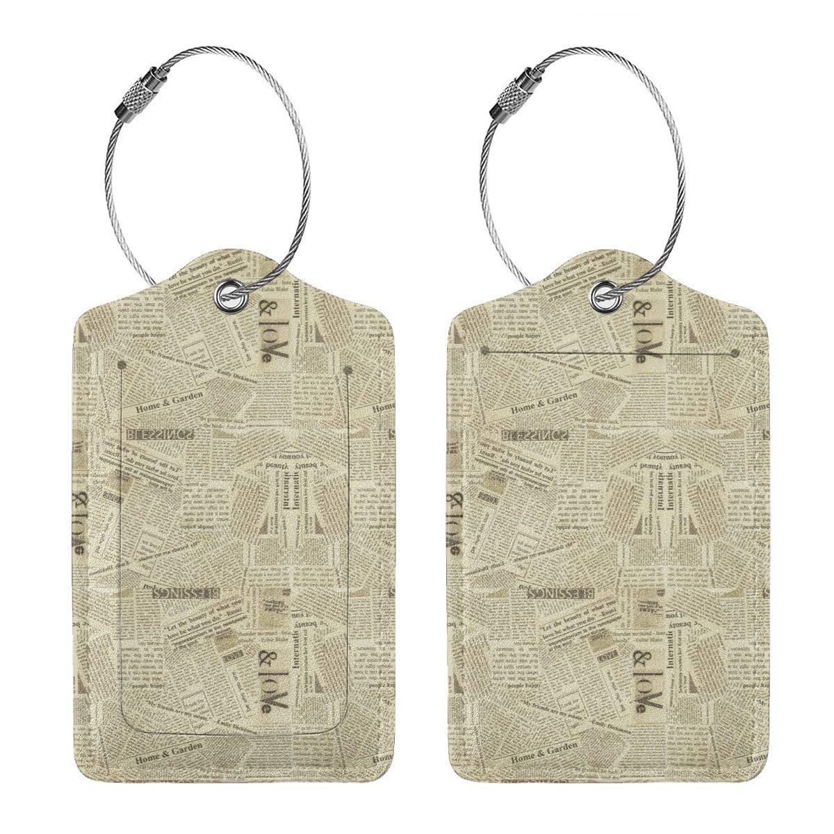 Leather Luggage Tags Full Privacy Cover and Stainless Steel Loop 1 2 4 Pcs Set Retro Newspaper 2.7 x 4.6 Blank Tag Key Tags for Instrument Baggage Bag Gift