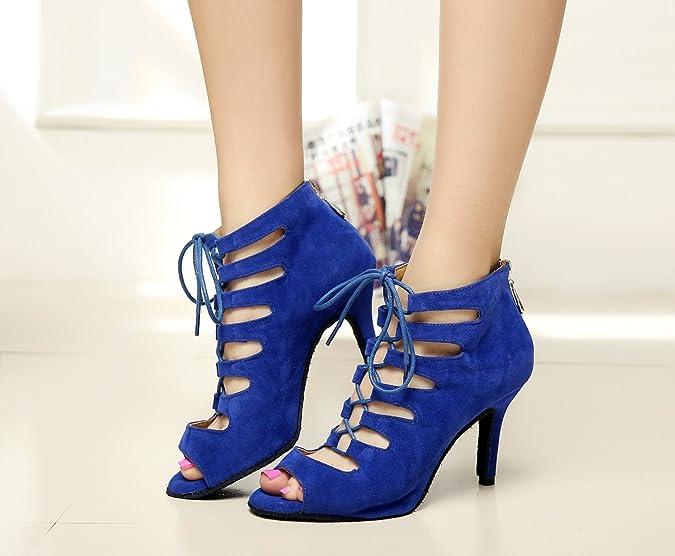 JSHOE Frauen Tanzschuhe Latin/ChaCha/Samba/Modern/Jazz Tanzschuhe,Blue- heeled7.5cm-UK5.5/EU38/Our39: Amazon.de: Schuhe & Handtaschen