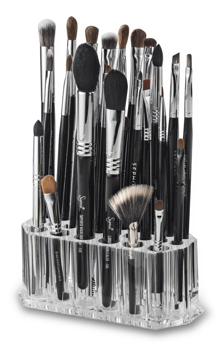 byAlegory Acrylic Makeup Beauty Brush Organizer | 26 Space Cosmetic Storage (CLEAR)