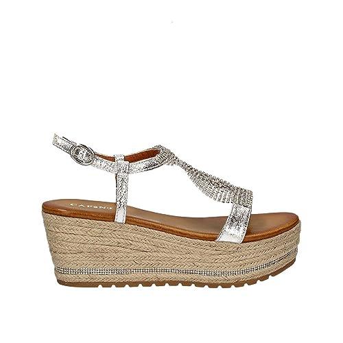 aa5cd555455c1 CafèNoir HM919 - 204 sandali donna zeppe argento in corda e fascia ...