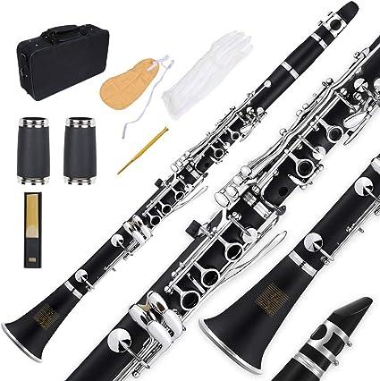 Bb - Clarinete plano, negro, Les Ailes de la Voix Clarinete de estudiante ABS con funda, boquilla, kit de cuidado y destornillador ajustable, Clarinete de banda para principiantes: Amazon.es: Instrumentos musicales