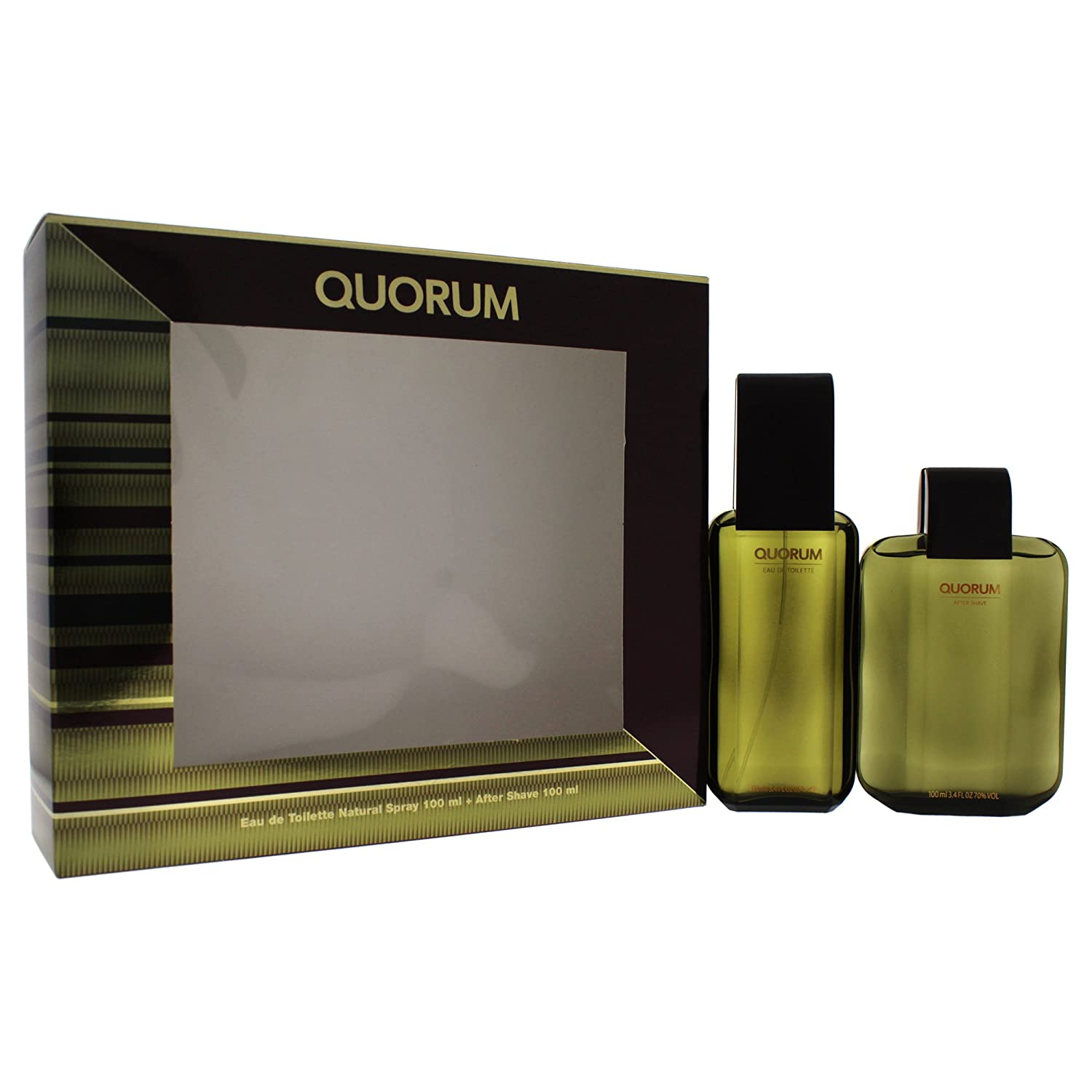 Puig Quorum Eau De Toilette 100ml Spray with Aftershave Gift Set GST3862