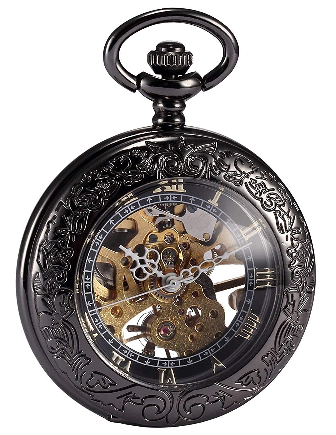 Carrie Hughes Men s Vintage Black Gothic Steampunk Skeleton Mechanical Pocket Watch with Chain Gifts
